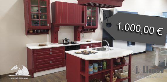 Liquidación de cocina de madera lacada en rojo Inglés.